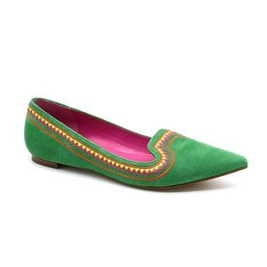 Joan & David Green Suede Pointed Toe Flats 6